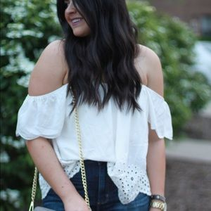 Off the Shoulder top with Eyelet Detailing